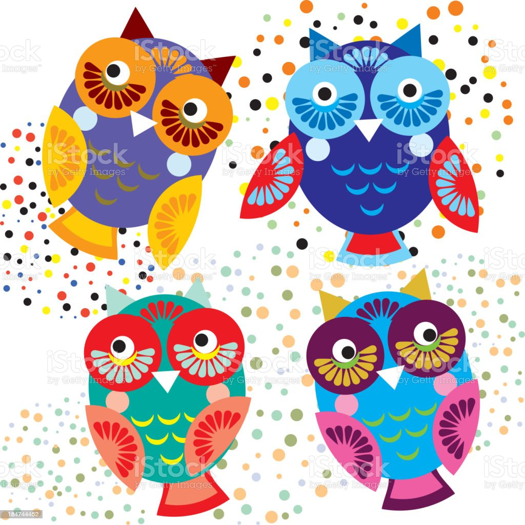 Four bright colorful owls. Vector set royalty-free four bright colorful owls vector set stock vector art & more images of animal