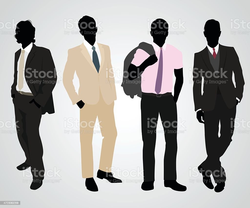 Four businessmen silhouettes with different suit styles vector art illustration