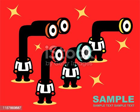 Unique Characters Full Length Vector art illustration. Four businessmen with Periscop or Telescope head peeking.