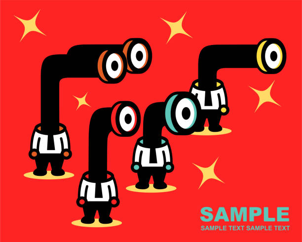 Four businessmen with Periscop or Telescope head peeking vector art illustration