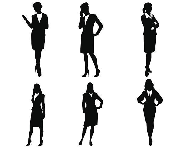ilustraciones, imágenes clip art, dibujos animados e iconos de stock de cuatro siluetas de mujer de negocios - ejecutiva
