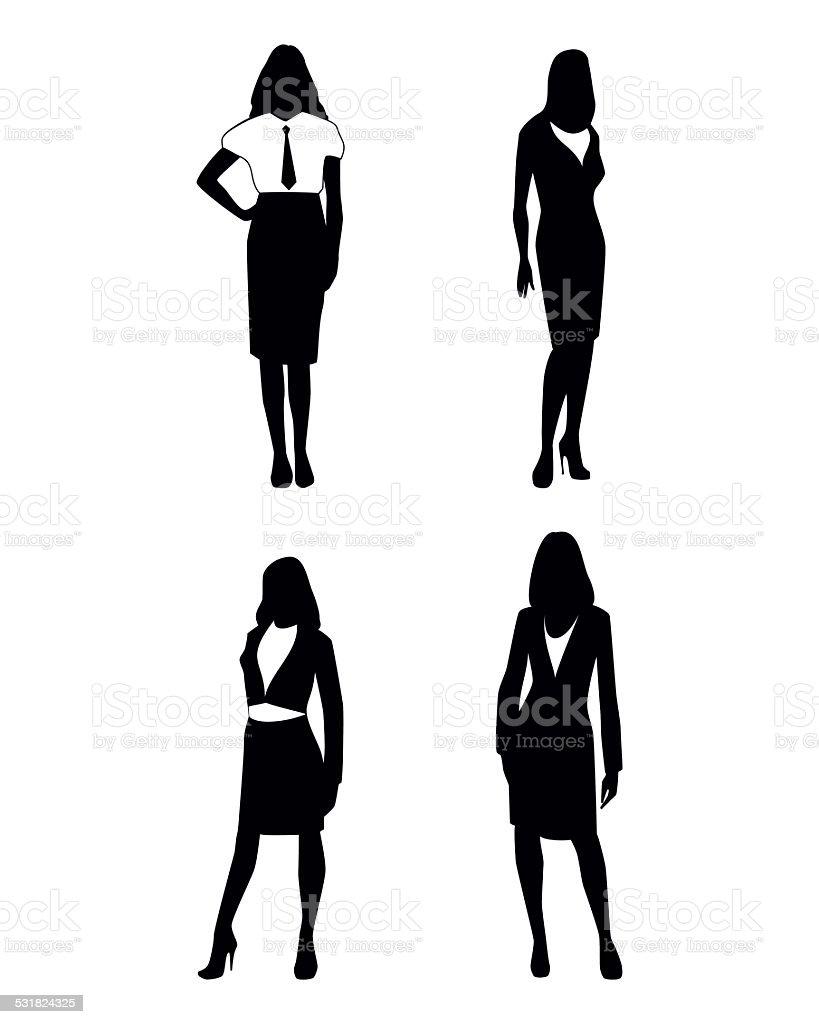 Four businesswoman silhouettes vector art illustration