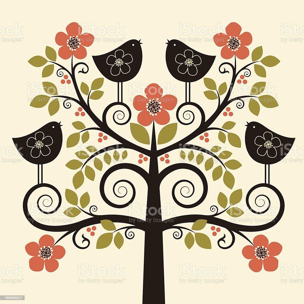Four Calling Birds royalty-free stock vector art