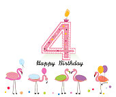 Four candle. Happy fourth birthday candle letter. Exotic birds. Set of different poses flamingos. Colorful flamingo