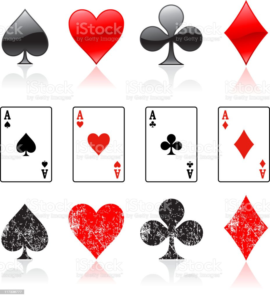 Four Card Suits And Aces Royalty Free Vector Icon Set Stock