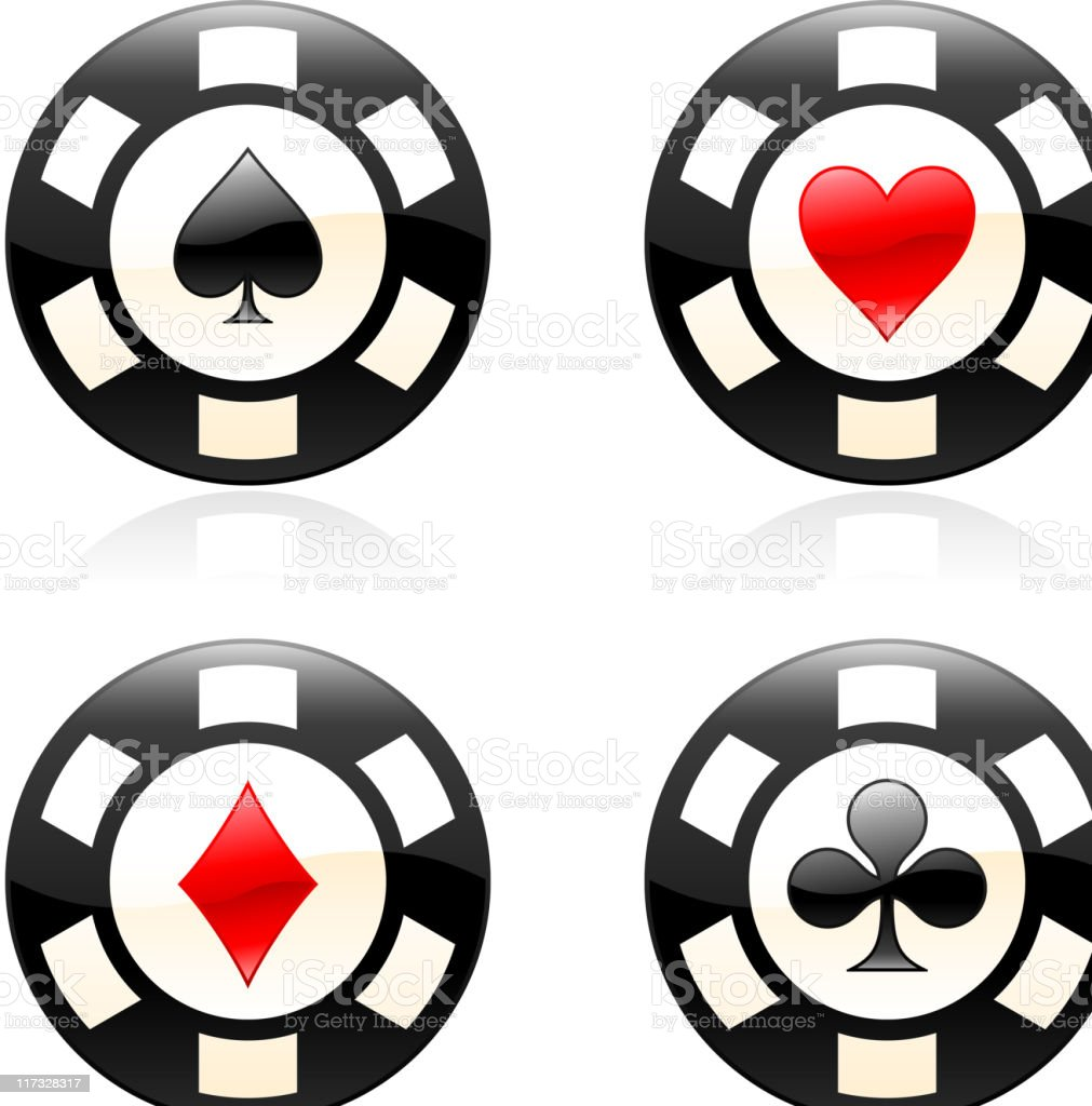 four card suits poker chip royalty free vector icon set royalty-free stock vector art