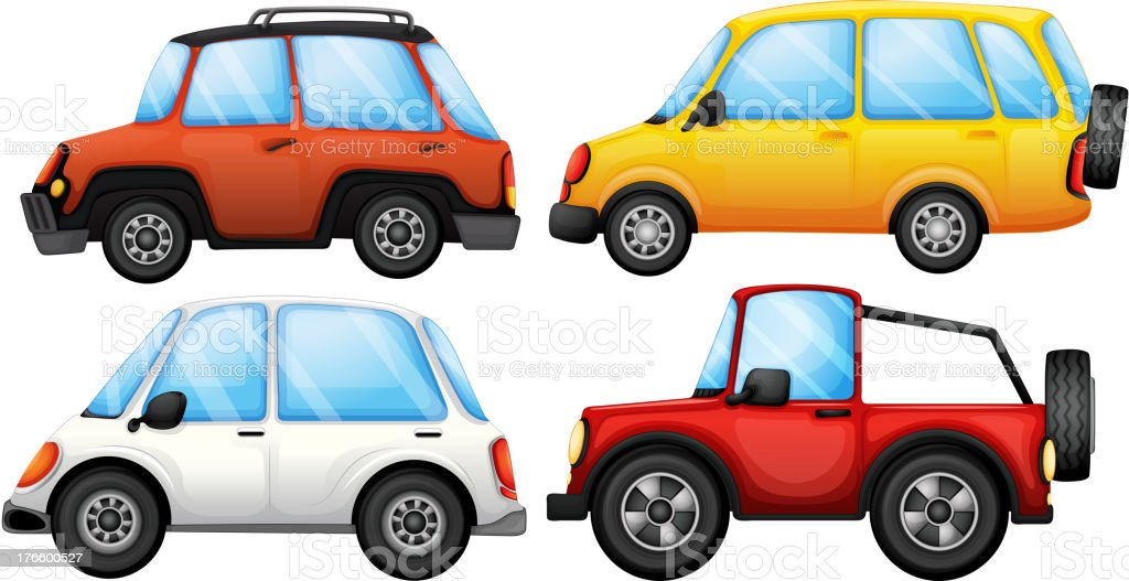 Four cars with different styles royalty-free stock vector art