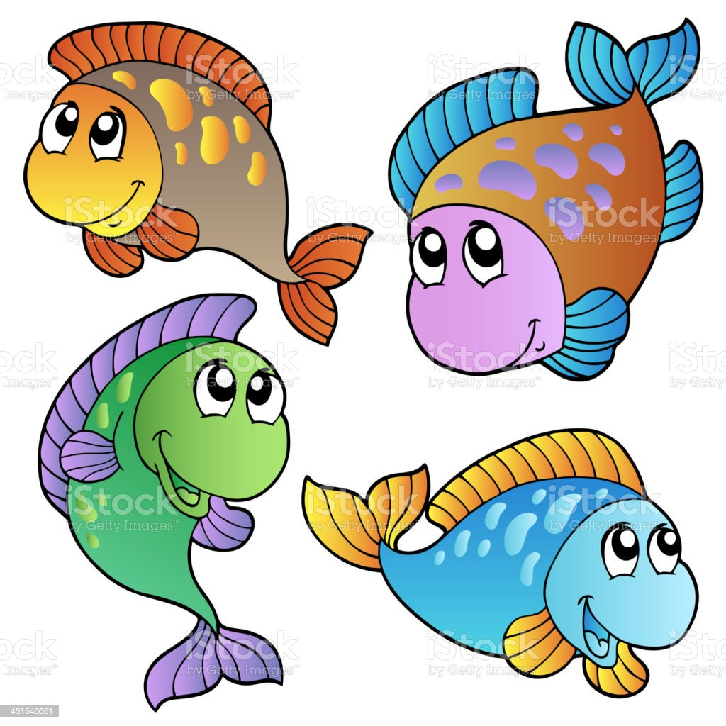Four cartoon fishes royalty-free stock vector art