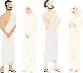 Illustration of 4 men & women wearing pilgrimage garments.