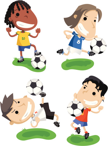 Four cartoons about soccer for the World Cup