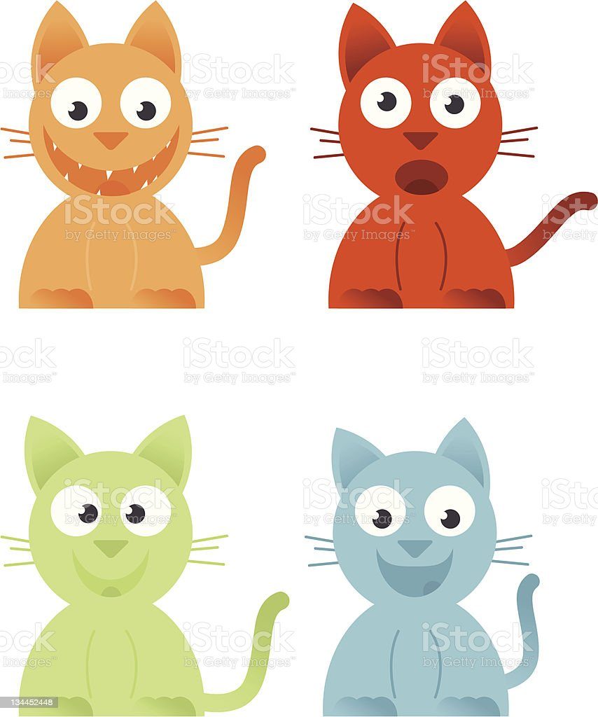 Four Cats royalty-free stock vector art