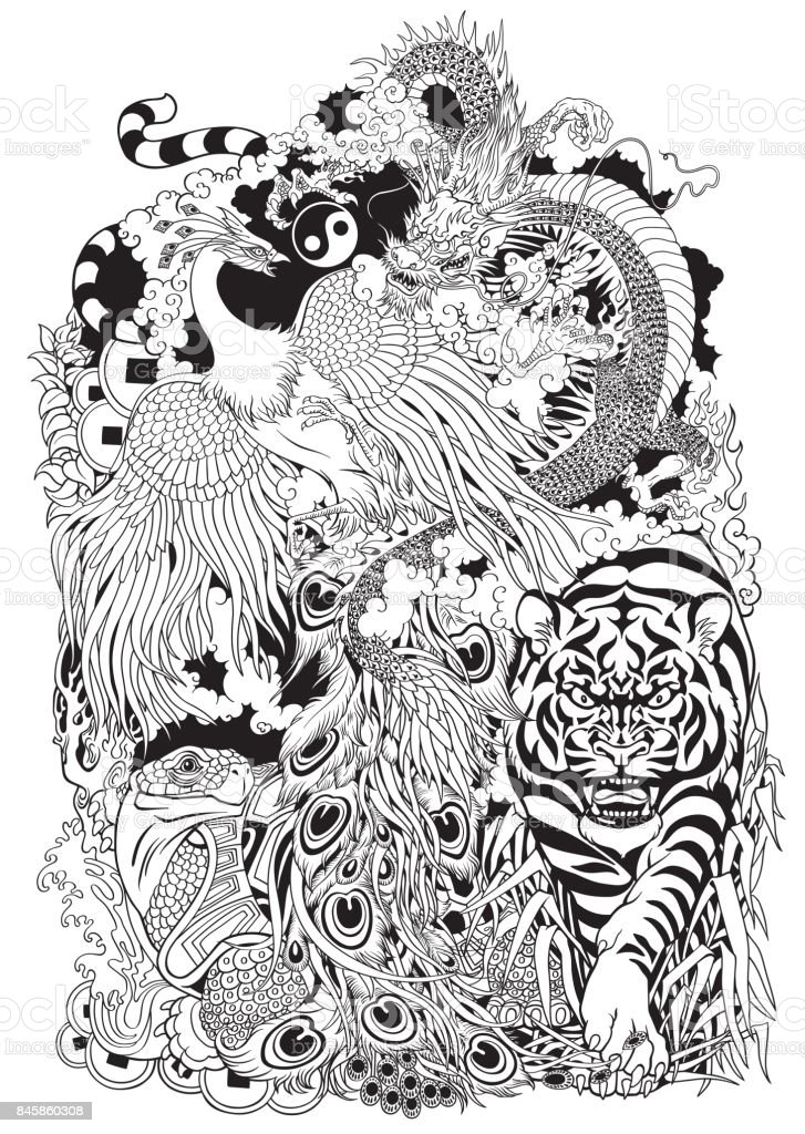 four celestial animals  black and white illustration vector art illustration