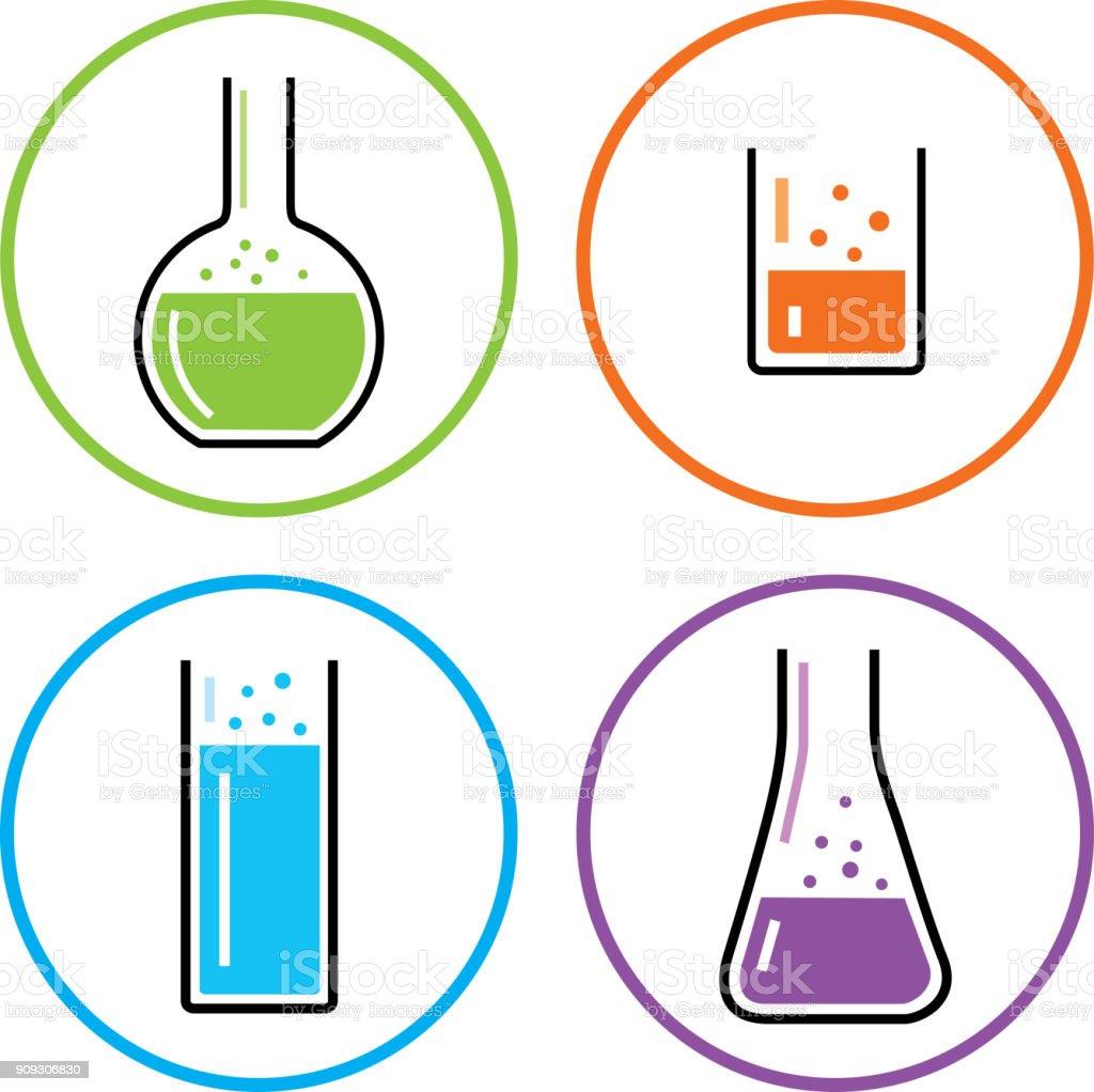 Four Chemistry Beaker Icons vector art illustration