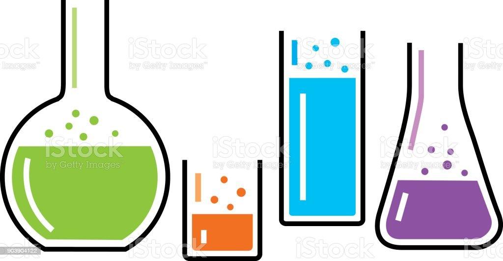 Four Chemistry Beakers vector art illustration