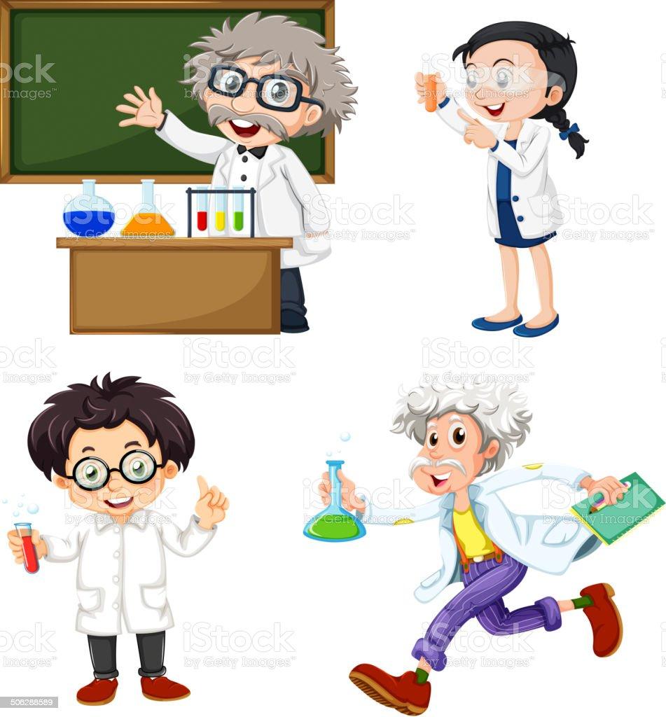 Four chemists - 免版稅人圖庫向量圖形