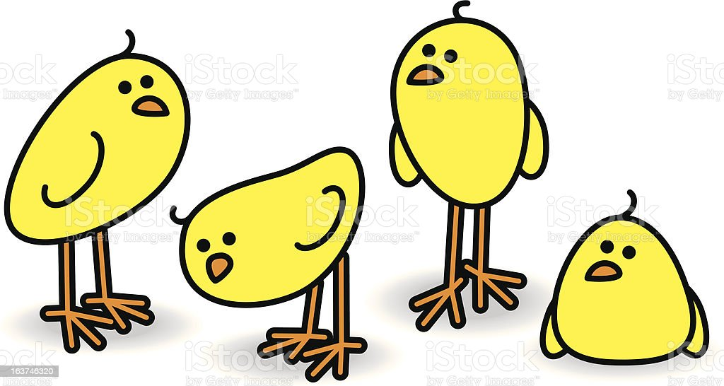 Four Chicks in a Relaxed Group royalty-free stock vector art