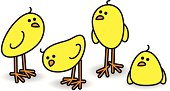 Illustration of Four Small Cute Chicks in a Relaxed Group on White Background