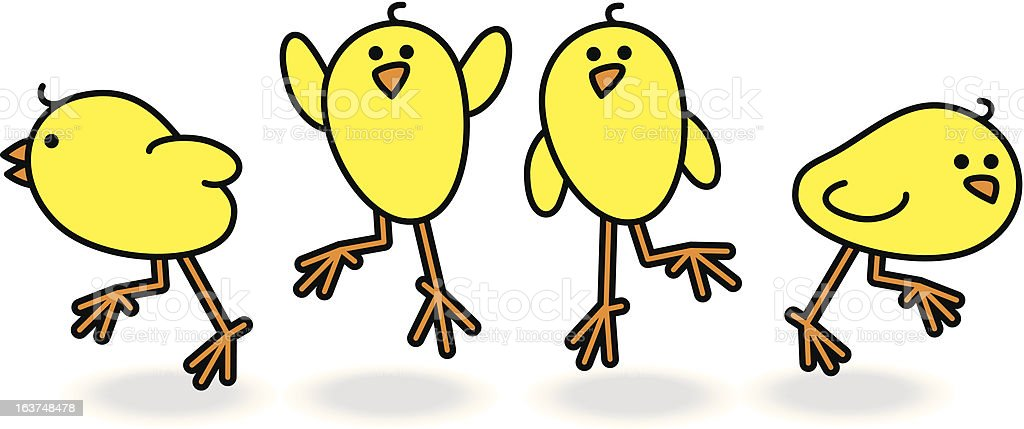 Four Chicks Scattering in a Group vector art illustration