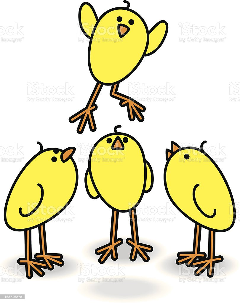 Four Chicks with one Leaping royalty-free stock vector art