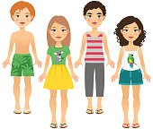Four children in summer outfits