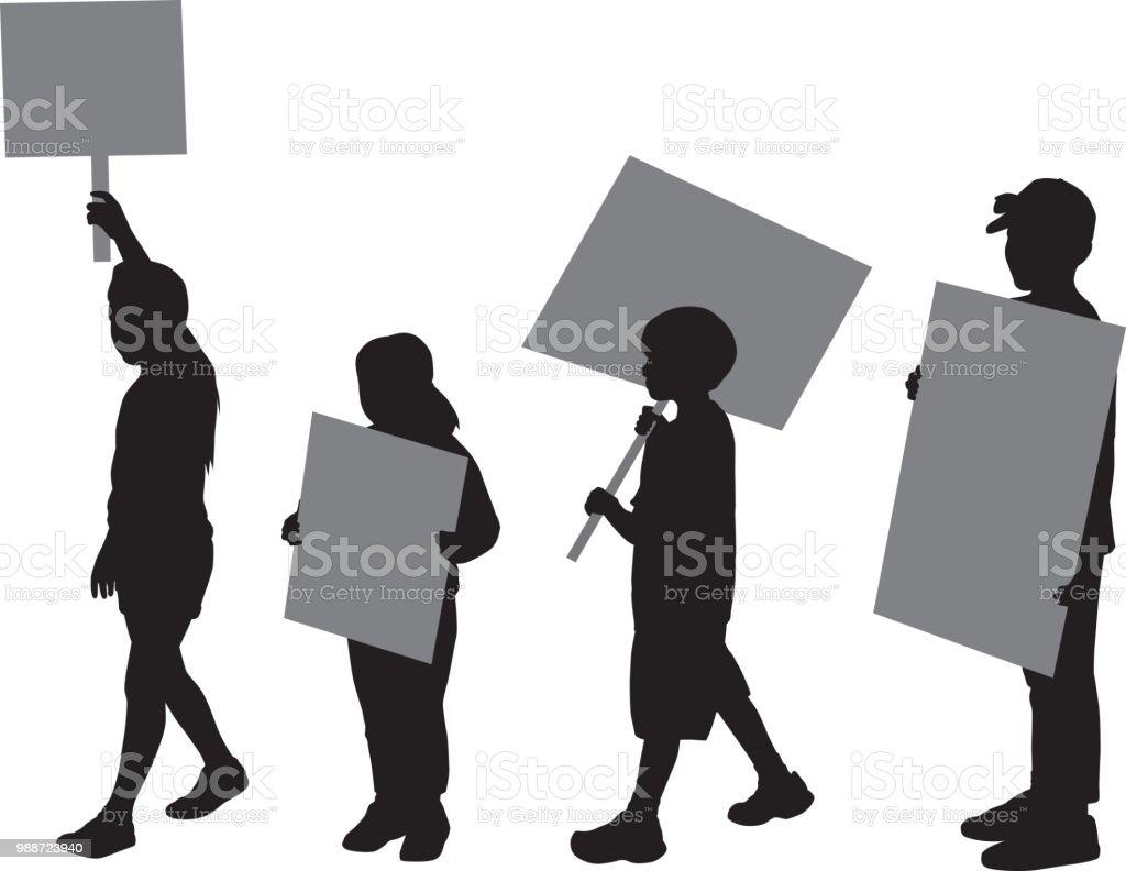 Four Children Protesting Silhouettes - ilustração de arte vetorial