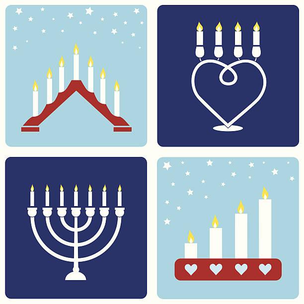 ilustraciones, imágenes clip art, dibujos animados e iconos de stock de cuatro navidad candleholders - adviento