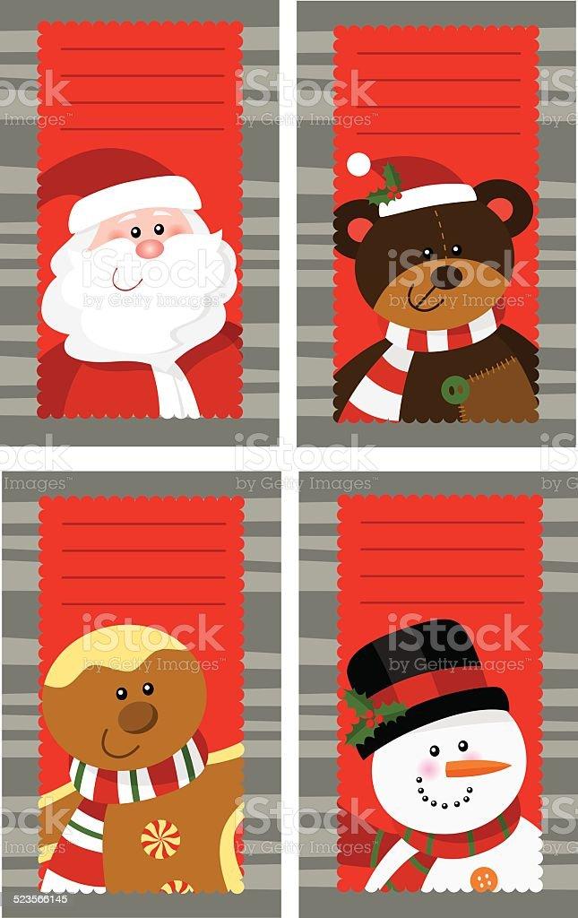 Four Christmas cards 4 vector art illustration