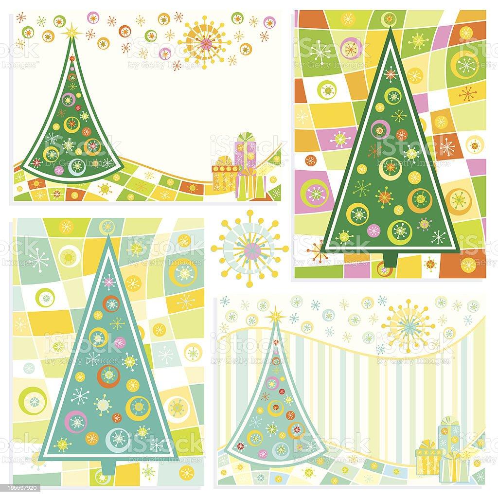 Cuatro tarjetas de Navidad ilustración de cuatro tarjetas de navidad y más banco de imágenes de abstracto libre de derechos