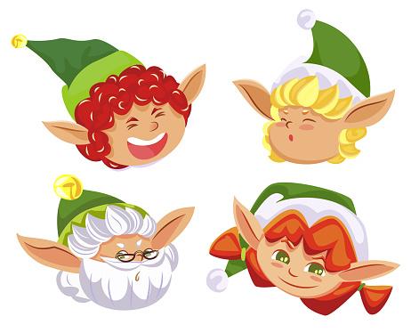 Four Christmas Elves, Fairy Characters Having Fun