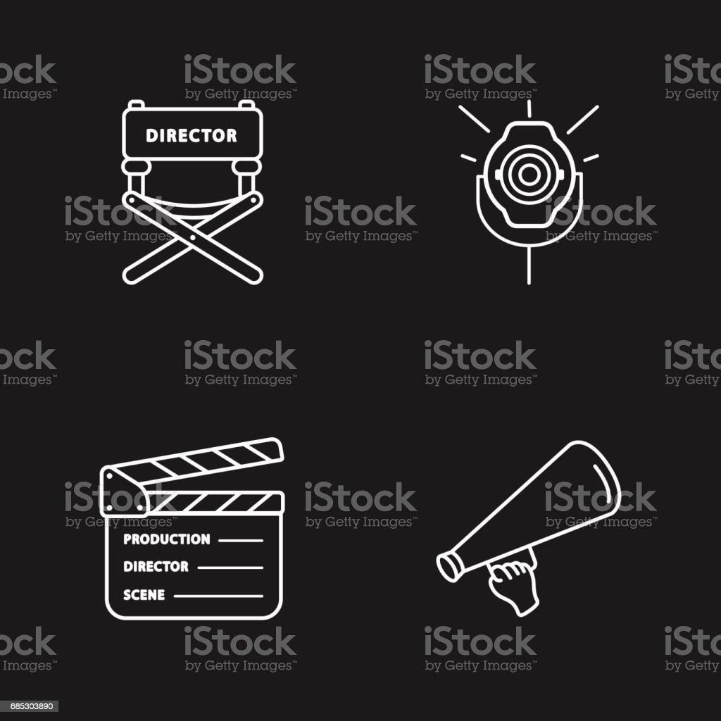 four cinema icons four cinema icons - arte vetorial de stock e mais imagens de assento royalty-free