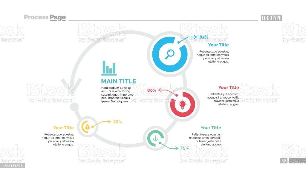 Four Circles Comparison Slide Template vector art illustration