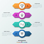 Four circular elements placed one above other with two arrows pointing in opposite directions, letters and text boxes. 4 double-sided pointers concept. Infographic design layout. Vector illustration.
