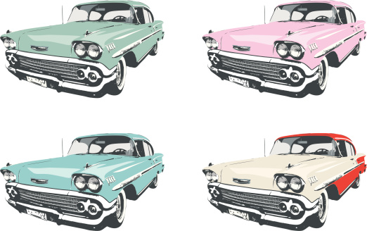 Highly detailed vector illustration of four classic 1950s cars in different colors: light green, pink, light blue, and white with red.