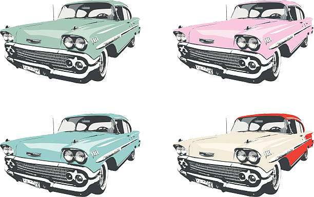 four classic cars - 1950s style stock illustrations, clip art, cartoons, & icons