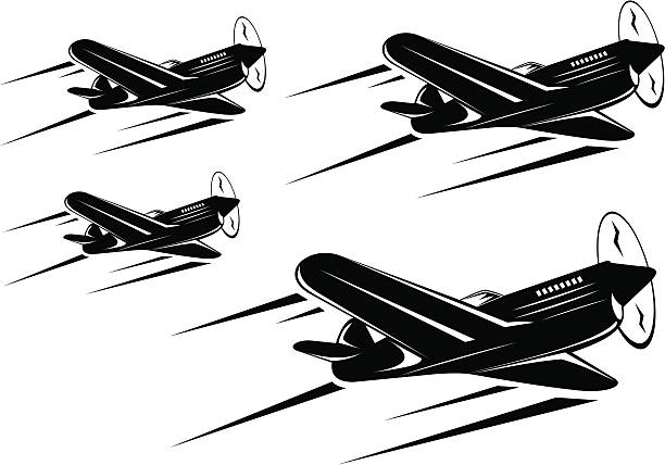 four classic war planes squadron flying in formation - world war ii stock illustrations, clip art, cartoons, & icons