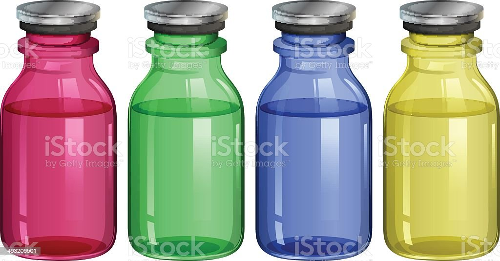 Four clear bottles royalty-free stock vector art