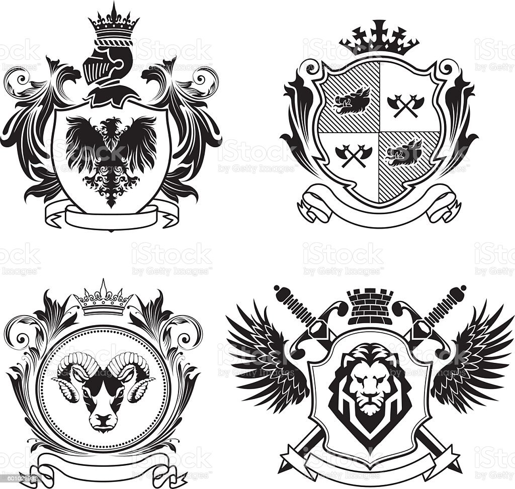 Four coat of arms vector art illustration