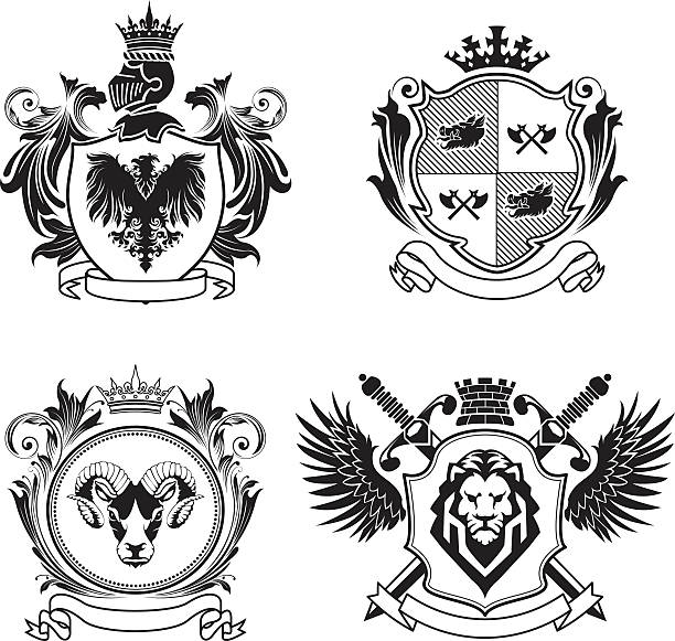 four coat of arms - kamm stock-grafiken, -clipart, -cartoons und -symbole