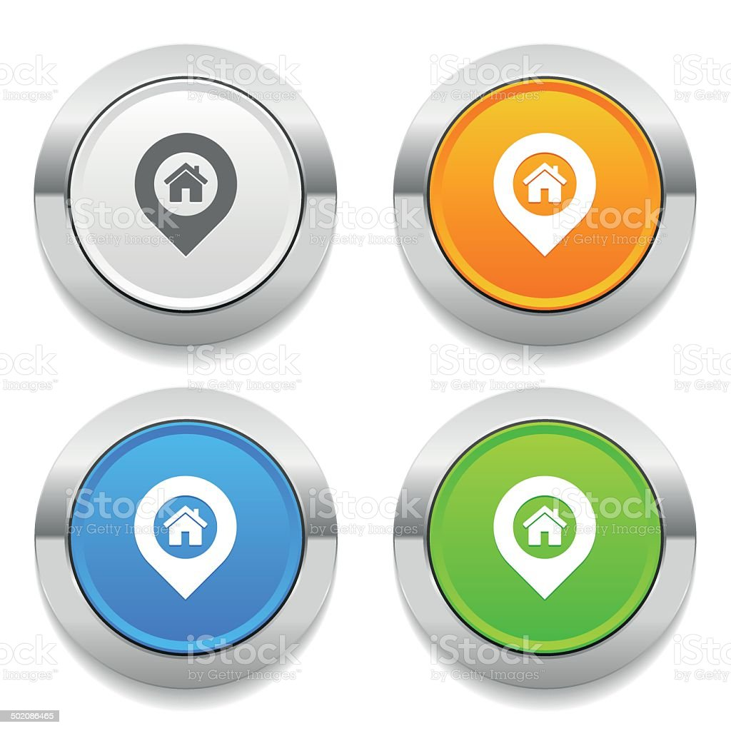 Four color round button with home-pin icon and metallic border