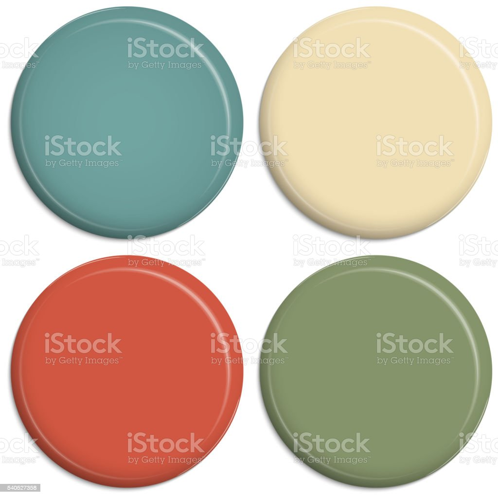 four colored magnetic buttons vector art illustration