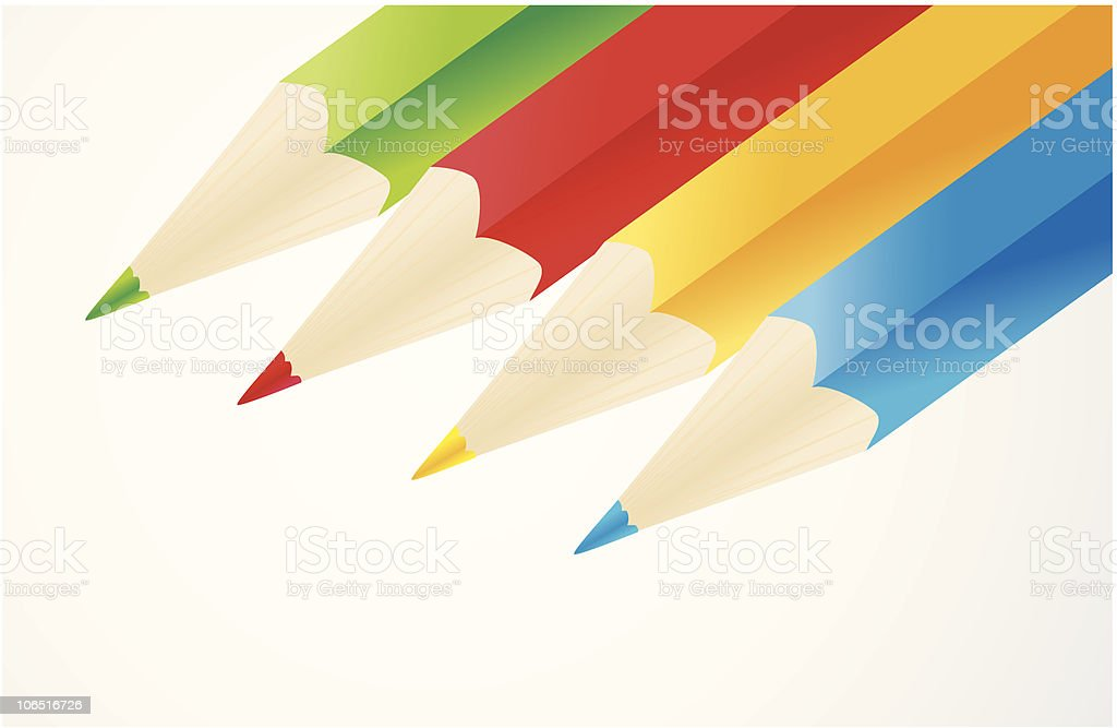 Four colored pencils royalty-free stock vector art