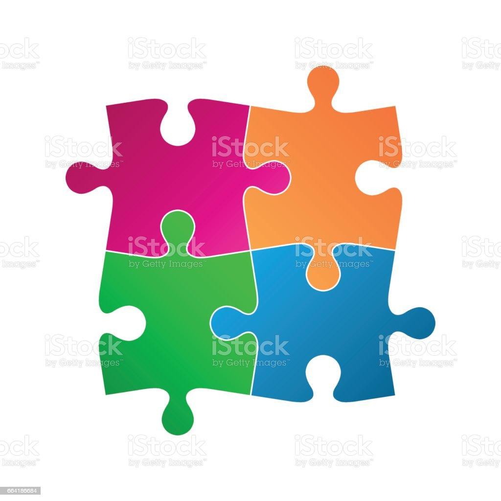 Quatro peças coloridas, ícone símbolo abstrato, isolado em um fundo branco - ilustração de arte em vetor