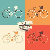 Four colored squares with bicycle icons in each