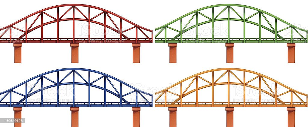 Four colorful bridges vector art illustration