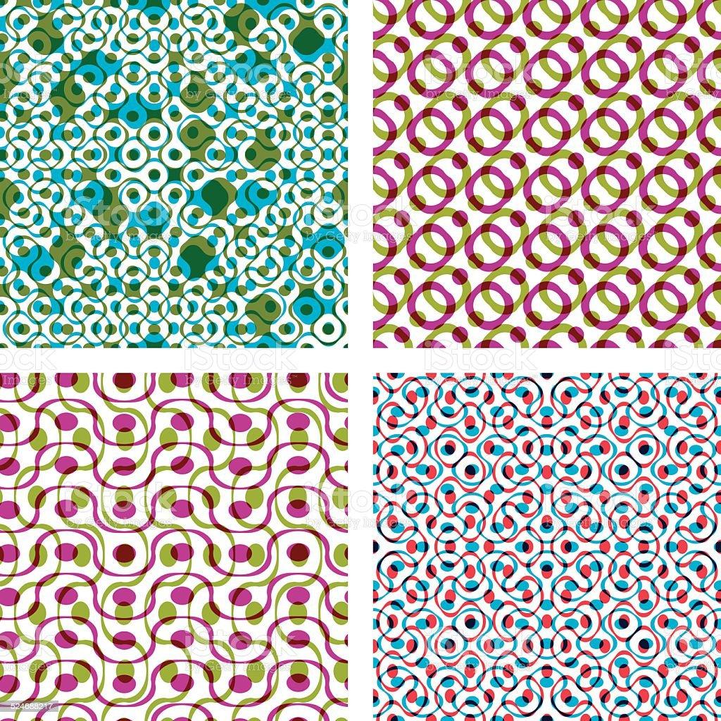 Cuatro Patrones Colorido Puntos Conjunto De Habitación Amplia De ...