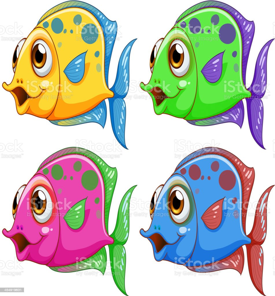 Four colorful fishes royalty-free stock vector art