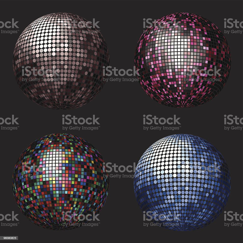 Four colorful mirror balls on a dark background royalty-free four colorful mirror balls on a dark background stock vector art & more images of abstract