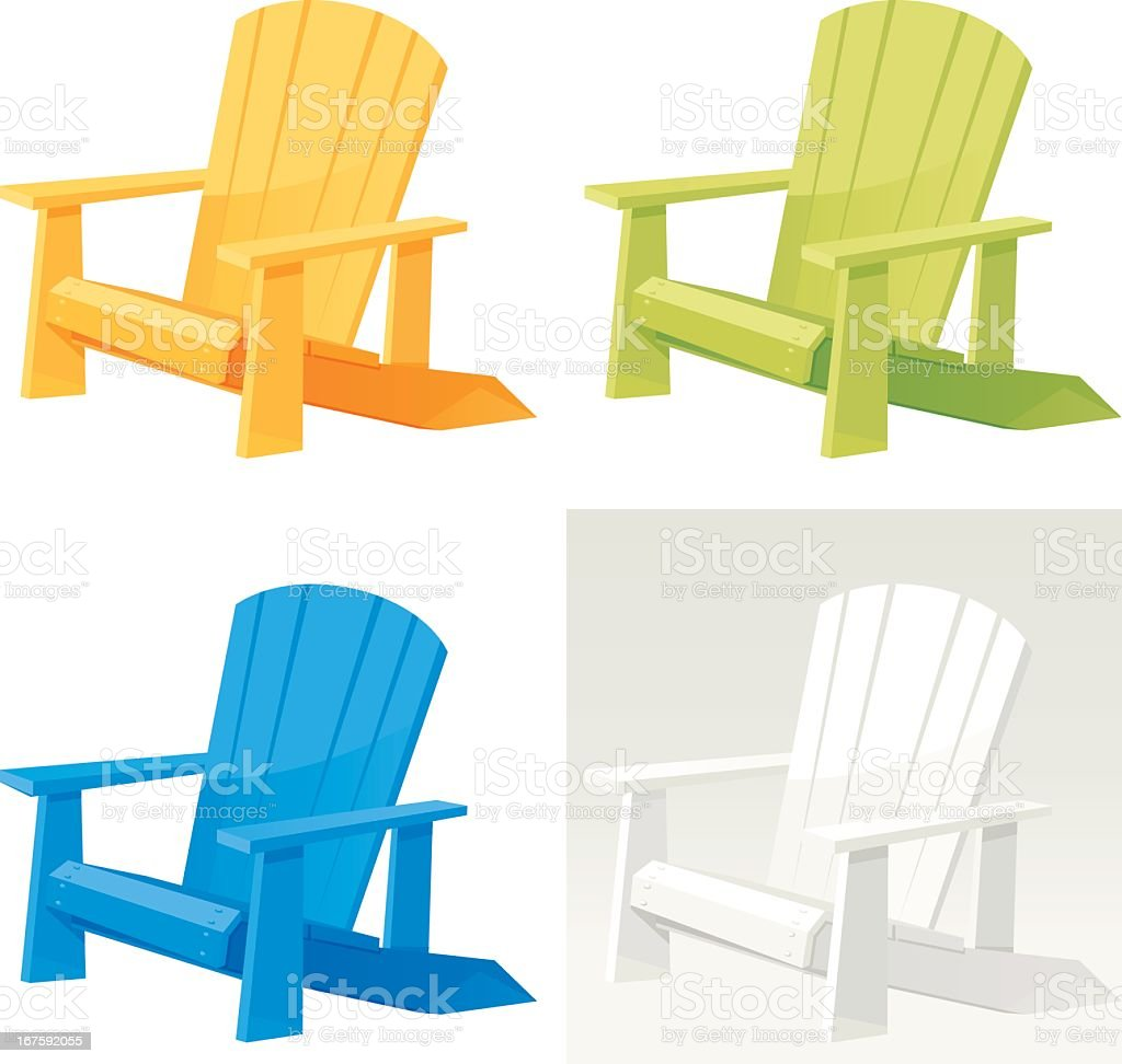 Four colorful muskoka Adirondack armchairs on white back vector art illustration