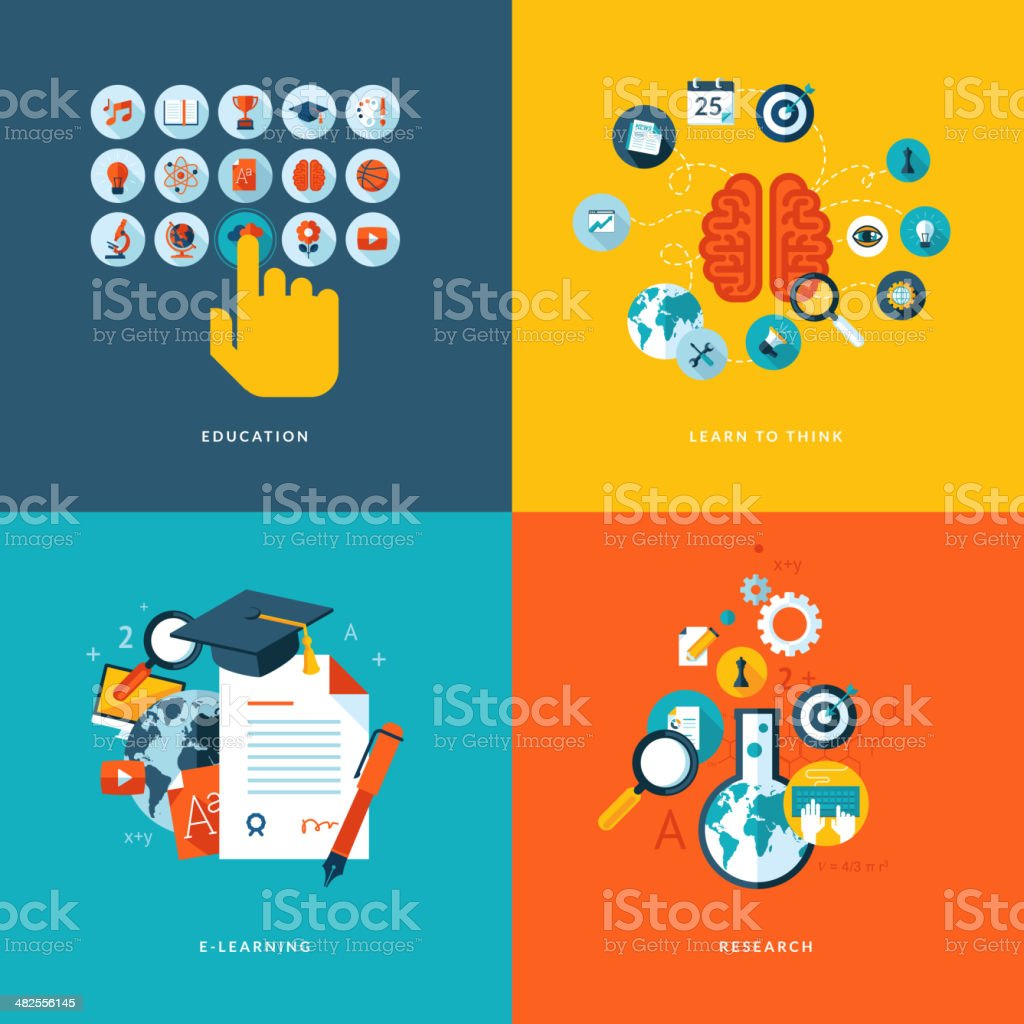 Four colorful quarters with design icons vector art illustration