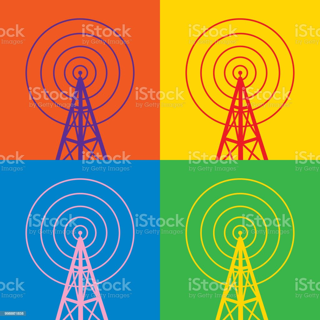 Four Colorful Radio Tower Icons
